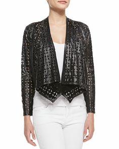 Circle-Perforated Cropped Leather Jacket at CUSP.