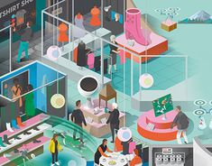 Intellecta commissioned Nils-Petter for a colorful opening spread in their client's magazine Fastighetstidningen and an article about how future shopping with augmented reality, drones, pop-up stores, smart mirrors and shopping windows will affect real estate planning. Illustration: Nils-Petter Ekwall Client: Intellecta