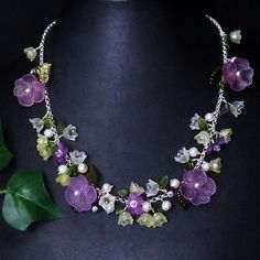 """""""Purple Pansy Garden"""" Necklace of Vintage Lucite Flowers by K for 'Trifles & Whimsy' on Etsy"""