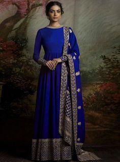 Royal Blue Banglori Silk Long Anarkali Suit 93631