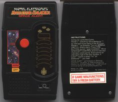 My first hand-held game, Mattel's Battlestar Galactica Space Alert. Shoot little, red LEDs at oncoming little, red LEDs. Use your imagination to see the Galactica fighting off Cylon Raiders.