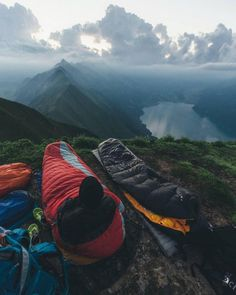 Learn more about ** Camping & Tents | Sleeping bags on the rocks with a view...