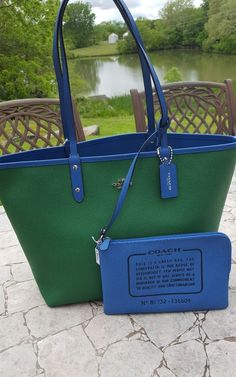 NWT COACH ~  Reversible 2 In 1 City Tote Coated Canvas/Leather Green/Blue F36609 #Coach #TotesShoppers