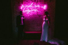 Neon Light For Weddings by Bag & Bones - Willowby by Watters Wedding Dress For A Stylish Wedding At Brixton East With Flowers by BloomingGayles And Images From Through The Woods We Ran