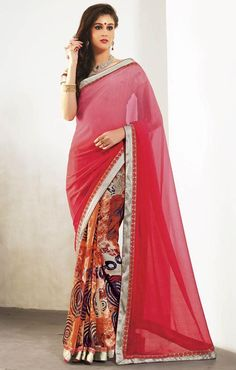 Half saree blouse with modish current fashion trend of deep neck designs