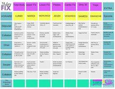 21 Day Fix Idée menu santé pour 7 jours avec indication de recettes