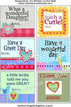 very sweet lunchbox notes-free-8 sheets!!!