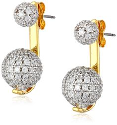 nOir Jewelry Gold Pave Sphere Earrings Jackets. Ball stud earrings pave set in cubic zirconia featuring removable drop jackets with additional decorated spheres. Imported.