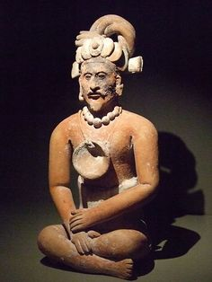 Seated bearded man Mexico Maya lowlands Jaina Island Late Classic period 600-900 CE Ceramic