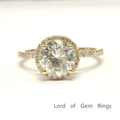 $688 Round Moissanite Engagement Ring Pave Diamond Wedding 14K Yellow Gold Full Eternity Band 6.5mm