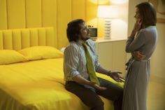 Irving Rosenfeld (Christian Bale) and Sydney Prosser (Amy Adams) in Sydney's Upper East Side Apartment bedroom in Columbia Pictures' AMERICAN HUSTLE. Photo by:  Francois Duhamel