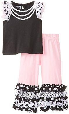 Mud Pie Baby Girls' Ruffled Tee and Pant Set, Black/Pink/White, 12 18 Months