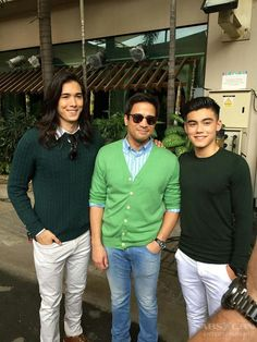 """This is Tommy Esguerra, Sam Milby, and Bailey May smiling for the camera during the taping of the ABS-CBN 2016 Christmas Station ID, """"Isang Pamilya Tayo Ngayong Pasko"""" at the ABS-CBN Compound in Quezon City. Indeed, Tommy, Sam, and Bailey are proud Kapamilyas and Star Magic talents, and proud alumni of Pinoy Big Brother. #SamMilby #ABSCBNChristmasStationID #IsangPamilyaTayo #IsangPamilyaTayoNgayongPasko Born Again Christian, Bailey May, Star Magic, Quezon City, Celebs, Celebrities, Pinoy, Filipino, Fashion Models"""