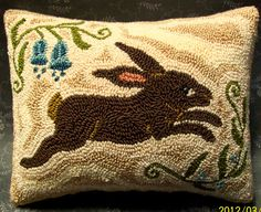 Primitive Needle Punch Pillow Spring Bunny Blue by thetalkingcrow