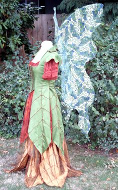Renaissance Faerie Costume adult custom handmade tailored gown dress fairy elf skirt peasant top goddess gypsy steampunk costume - RESERVED. $460.00, via Etsy.
