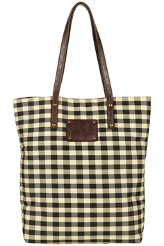 Topshop Gingham Print Shopper in Yellow (black) | Lyst