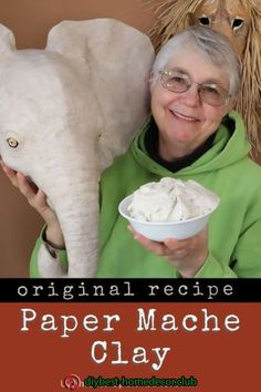 This easy recipe creates spreadable paper mache clay that replaces the mess of t. - This easy recipe creates spreadable paper mache clay that replaces the mess of traditional paper st - Paper Mache Paste, Paper Mache Clay, Paper Mache Sculpture, Paper Mache Flowers, Homemade Clay, Diy Clay, Making Paper Mache, How To Paper Mache, Paper Art