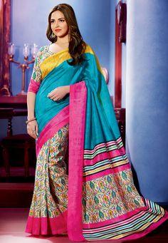 Esha Deol Teal & Off White Bhagalpuri Silk Saree Art Silk Sarees, Silk Sarees Online, Bollywood Saree, Bollywood Fashion, Trendy Sarees, Ethnic Wear Designer, Saree Look, Ethnic Dress, Work Sarees