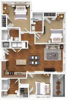 Sims House Plans, House Layout Plans, Dream House Plans, Small House Plans, House Floor Plans, Layouts Casa, House Layouts, Apartment Floor Plans, Bedroom Floor Plans