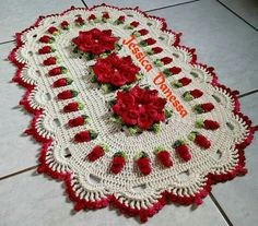 Large green red inches-christmas doily-crochet doily-christmas decor-gift for christmas-gre Crochet Tablecloth, Crochet Doilies, Home Crafts, Diy And Crafts, Crochet Granny, Beautiful Crochet, Knit Patterns, Crochet Projects, Art Decor