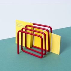 Wire Letter Rack by Block. Letter Holder stores your letters & documents in an unusual way. A stylish Desk Organiser in wire. Available in grey red & blue.