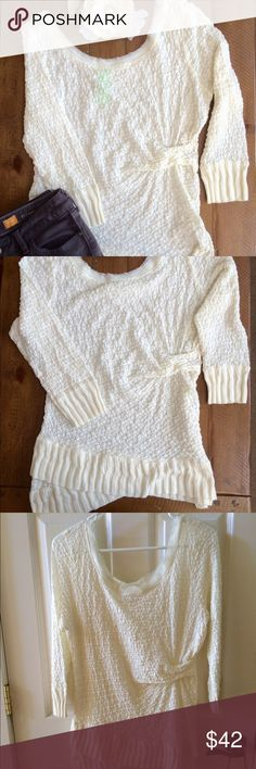 """{Anthropologie} Lace Sweater fall staple Anthropologie Ivory overlapping lace scoopneck ribbed hem sweater/top. 3/4 sleeve. Cotton/nylon/spandex blend. Hand wash. Made by Deletta. Like new! ✏️️Measurements (lying flat) armpit to armpit 18"""" (there is some stretch to it), shoulder to bottom of middle hem 28"""", to side hem 29.5"""" Anthropologie Tops"""