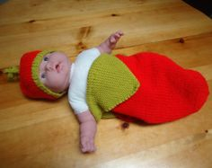 Items similar to Crochet Christmas Elf Stocking Baby Hat And Cocoon Set on Etsy