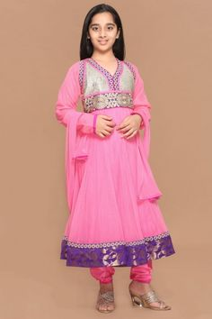 Pink Polyester Anarkali Churidar Suit - 3057