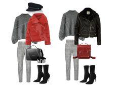 Стильный образ осень-зима 2017-2018  Брюки в клетку, кепи, красная куртка, споги-носки.