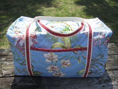 "Quilted Duffle Bag ""White Orchids on Blue"" Large Travel Bag, Air Travel Bag, Quiltsy Handmade, Overnight Bag, Weekender, Spacious Duffel Bag by OrchidFabricDecor on Etsy"