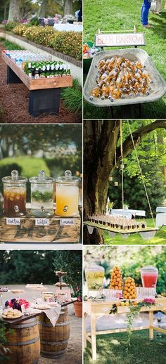 outdoor garden wedding food and drink serving ideas