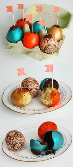 Cake baked inside decorated eggs. The instructions are in French, but there's a picture guide.