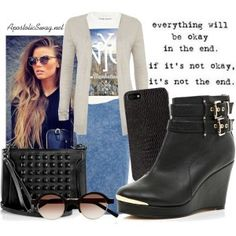 Acid washed skirt, screen print NY tee, cardigan, black leather ankle boots, Alexander McQueen studded bag, long beachy waves hairstyle