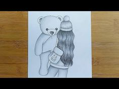 Easy Love Drawings, Sad Drawings, Cute Disney Drawings, Girl Drawing Sketches, Art Drawings Beautiful, Girly Drawings, Cool Art Drawings, Sketch Art, Teddy Bear Drawing Easy