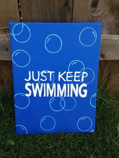 """Just Keep Swimming- Finding Nemo Canvas 9""""x12""""                                                                                                                                                                                 More"""
