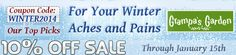 View our Latest Newsletter: For Your Winter Aches and Pains: Our Top Picks On Sale! Save 10% on select items. Newsletter: http://us2.campaign-archive2.com/?u=4803c7e444d44b4393bb3a5f6&id=8648d3bb5d