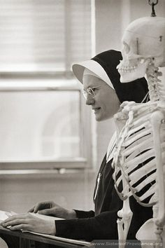 Sister Marceline & skeleton...Sisters of Providence...St. Mary's of the Woods, Terre Haute, IN