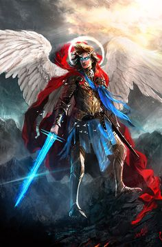 Amazing Digital art and illustration artwork created by professional artists from around the world that will surely mesmerize you and stir your imagination. Male Angels, Angels And Demons, Warrior Angel, Saint Michel, Fantasy Armor, Guardian Angels, Angel Art, Fantasy Creatures, Fantasy Characters