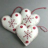 Christmas Decorations Scandinavian Felt Heart Set