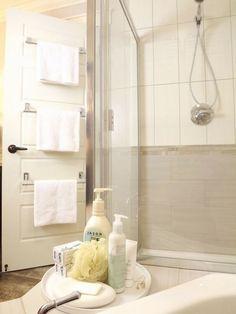 Bathroom, Free Standing Towel Racks For Bathrooms Brushed Nickel And Shabby Chic Bathroom Vanity Bathroom Interior Design For Small Spaces: Towel Racks for Interior Small Bathrooms Inspirations Bathroom Towel Rails, Bathroom Shelves For Towels, Towel Holder Bathroom, Bathroom Doors, Towel Holders, Master Bathroom, Houzz Bathroom, Bath Towel Racks, Towel Shelf