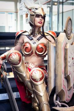Valkyrie Leona Cosplay League of Legends by KawaiiTine female costume LARP LRP shield sword fighter knight soldier armor clothes clothing fashion player character npc | Create your own roleplaying game material w/ RPG Bard: www.rpgbard.com | Writing inspiration for Dungeons and Dragons DND D&D Pathfinder PFRPG Warhammer 40k Star Wars Shadowrun Call of Cthulhu Lord of the Rings LoTR + d20 fantasy science fiction scifi horror design | Not Trusty Sword art: click artwork for source