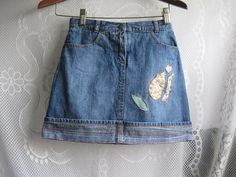 Upcycled Girls Denim Skirt with Shorts - cutout flower size 12 by Gymboree