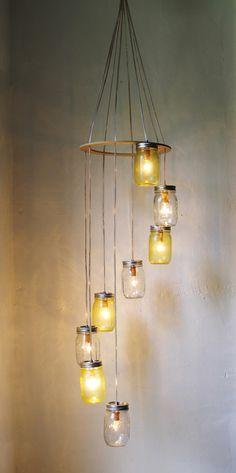 Mellow Yellow Mason Jar Chandelier Hanging Light Fixture - Spiral Waterfall Rustic Mason Jar Wedding Lighting - BootsNGus Modern Lamp Design by BootsNGus on Etsy https://www.etsy.com/listing/99874636/mellow-yellow-mason-jar-chandelier