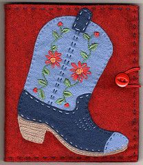 Cowboy boot needlebook for Pam - Pam G if you see this, it's a cool coincidence cuz I didn't write it but I sure thought of you (AC)
