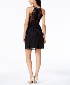 Morgan & Company Juniors' Sequin Lace Fit-and-Flare Dress - Juniors Dresses - Macy's