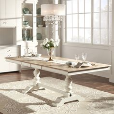 TRIBECCA HOME McKay Country Antique White Pedestal Extending Dining Table - Overstock™ Shopping - Great Deals on Tribecca Home Dining Tables