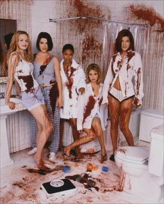 The women of Scream 2 (1997). From left to right: Heather Graham, Neve Campbell, Jada Pinkett-Smith, Sarah Michelle Gellar, Tori Spelling.