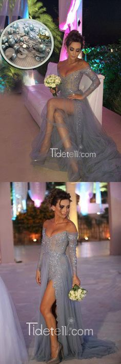 2016 prom dresses, long prom dresses, sexy lace prom dresses, off the shoulder prom dresses, grey prom dresses