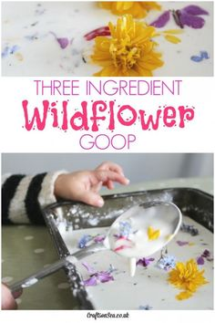 This wildflower goop only has three ingredients that I bet you have already! Gorgeous sensory play for kids plus a great tip for keeping them clean.