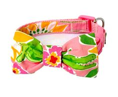 Dog Collar with Bow Made from Pink Croc Monsieur Fabric: Your Choice